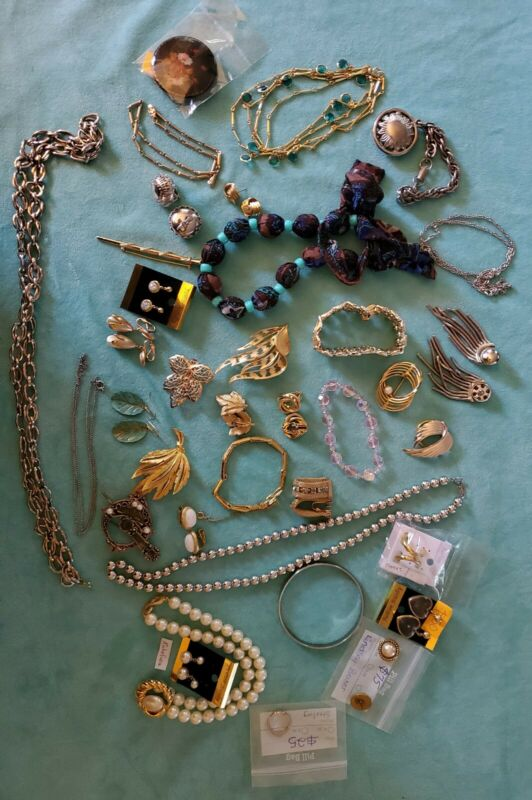 Lot Of  35  Pieces of miscellaneous costume Jewelry some are signed name brands