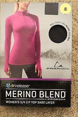 Paradox Merino Blend Womens 1 4 Zip Top Base Layer Size Small Black