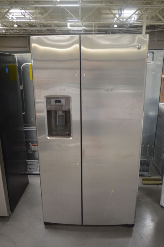 GE 25.4 Cu. Ft. Side-by-Side Refrigerator with Thru-the-Door Ice and Water Stainless Steel GSE25HSHSS