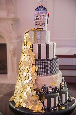 Casino Themed Party Decorations (Fabulous HUGE Faux 5 Layer Casino Themed Cake One-of-a-Kind! CASINO PARTY)