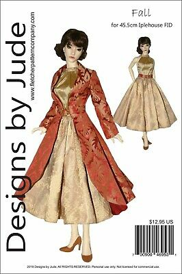 Fall Dress & Coat Doll Clothes Sewing Pattern for 45.5cm Iplehouse FID Dolls