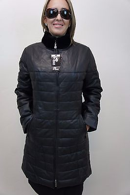 NEW WOMEN LADIES BLACK 100% GENUINE LAMB LEATHER PUFFER JACKET COAT LINED XS-6XL ()
