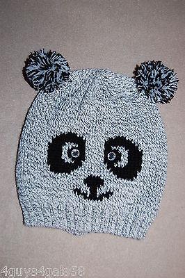 Womens Winter Knit Critter Hat PANDA BEAR Gray Black RHINESTONE EYES PomPom Ears (Pom Pom Critters)
