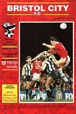 1992/93 Bristol City v Peterborough United, Division 1, PERFECT CONDITION