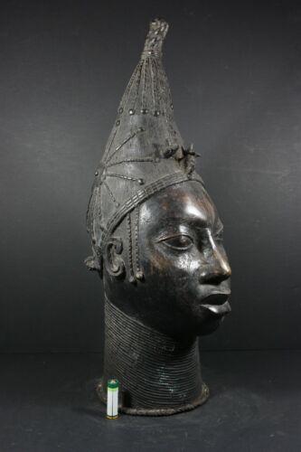 """Large 20.9"""" African BENIN Bronze Queen Mother Head - Nigeria Benin,  TRIBAL ART"""