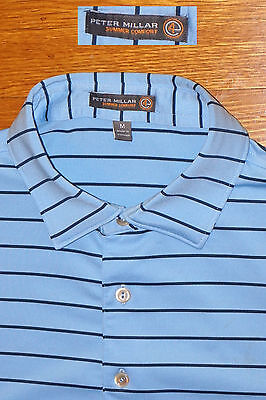 Peter Millar Polo Golf Light   Dark Blue Performance Mesh Summer Comfort Ec  M