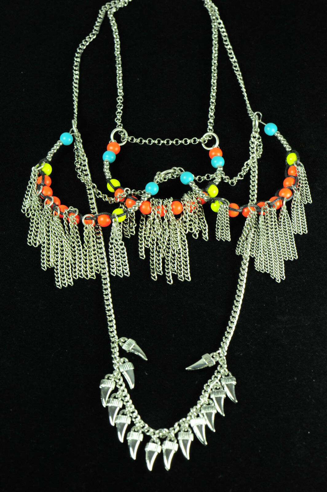 Ladies Aztec Colorful Necklace Unique Layered Multi Drop Brand New Cl10 Ebay
