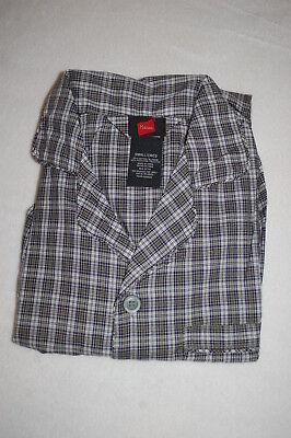 Snap Waist Pajamas (Mens L/S Woven Pajamas Set TINY BLACK WHITE PLAID DESIGN Snap Elast Waist SIZE)