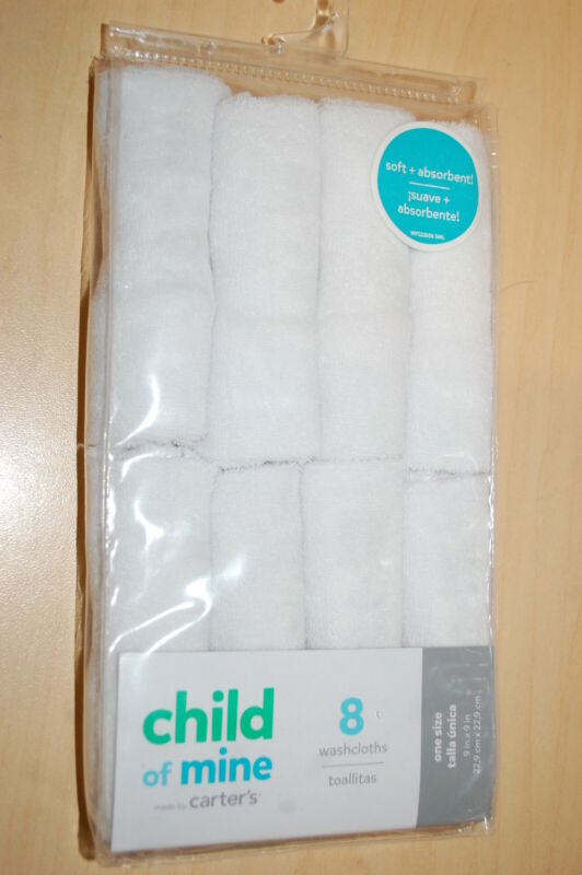 Baby Boys Girls 8 PACK WASHCLOTHS Soft Absorbant SOLID WHITE Carter
