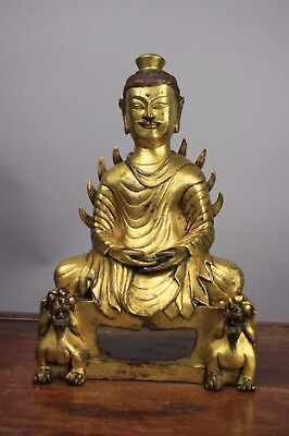 18th/19th C. Chinese Six Dynasties Style, Gilt Bronze Buddha with Flaming Should