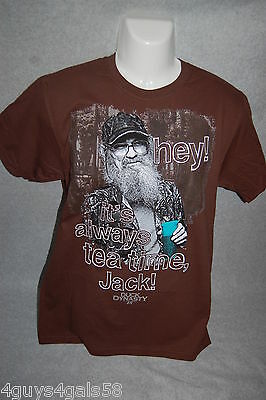 Mens Tee Shirt Brown Duck Dynasty Hey  Its Always Tea Time Jack Uncle Si L 42 44