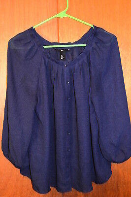 H & M WOMEN'S TOP - SHIRT  Navy Blue  SIZE 10   Button Front     lady's clothing
