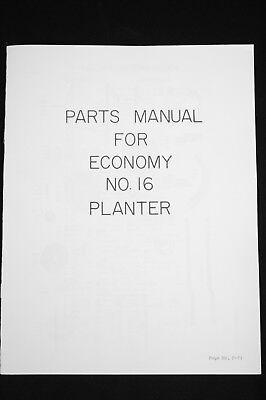 Cole Double Hopper Plain No. 16 1 Row Duplex Hopper Seed Planter Parts Manual