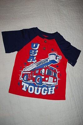Toddler Boys S/S Henley Tee Shirt USA TOUGH FIRETRUCK Red Navy Blue SIZE 3T