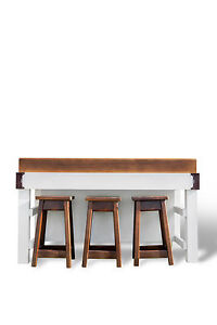 Island Bench Room For 3 Stools Shelves Butchers Block As