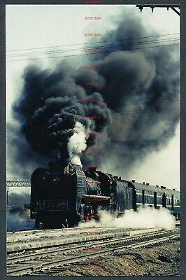 RQ1614w CHINA steam locomotive RM174 at Fulaer Ji 15/3/85