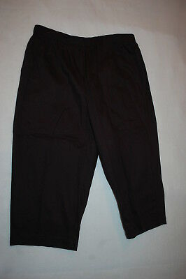 (Womens Capris BLACK WOVEN CROPPED PANTS Elastic Waist, 2 Pockets S M L XL)