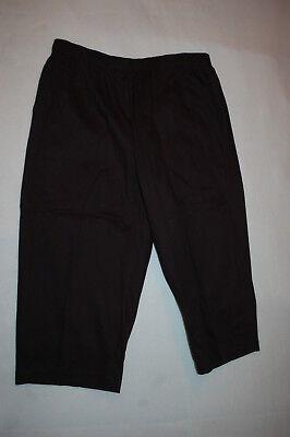 (Womens Capris BLACK WOVEN CROPPED PANTS Elastic Waist, 2 Pockets S M L XL)