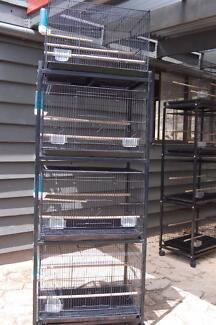 BIRD CAGE   ( 3 TIER STACKABLE  BIRD CAGES ON 4 ROLLING CASTERS