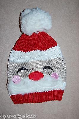Womens Winter Knit Critter Hat SANTA CLAUS FACE Pom Pom ROSY CHEEKS Mustache (Pom Pom Critters)