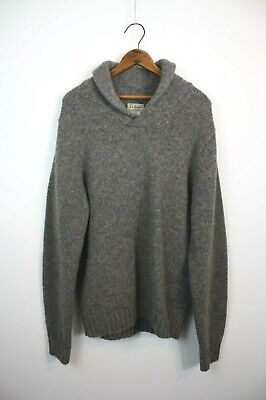 LL Bean Men's Gray Wool Pullover Sweater Shawl Collar Elbow Patches M Vintage