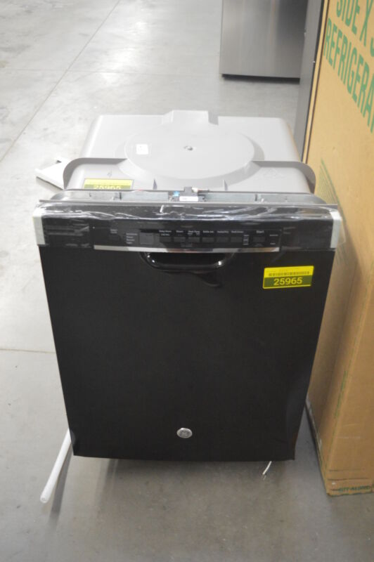 "GE 24"" Front Control Tall Tub Built-In Dishwasher Black-on-Black GDF610PGJBB"