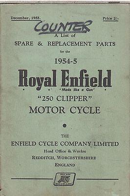 ROYAL ENFIELD 250 CLIPPER 1954-55 ORIGINAL FACTORY ILLUSTRATED PARTS CATALOGUE