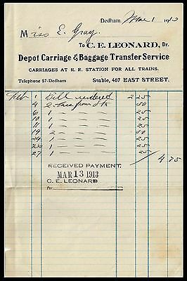 C E  Leonard  Dr  Depot Carriage   Baggage Transfer Service  1910  Bi Phil
