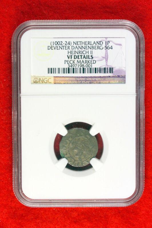 ND(1002-24) Netherland Deventer Dannenberg-564 Henrich II NGC VF Details #E0842
