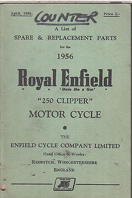 ROYAL ENFIELD 250 CLIPPER ORIGINAL 1956 FACTORY ILLUSTRATED PARTS CATALOGUE