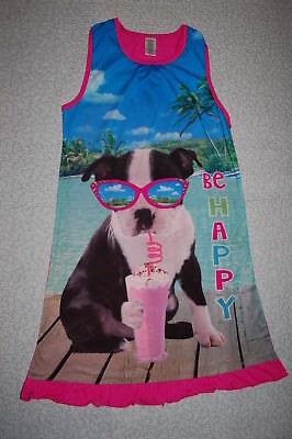 Girls Sleeveless Nightgown BE HAPPY Summer PUPPY DOG Milkshake Glasses XL 14-16