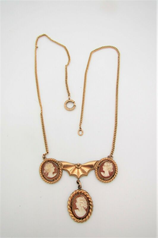 Old Gold Filled Necklace w/3 Carved Shell Cameos