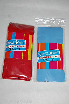 Girls Tights TWO PAIR Size 7-10 (50-74 lbs) RED LIGHT BLUE - Light Blue Tights
