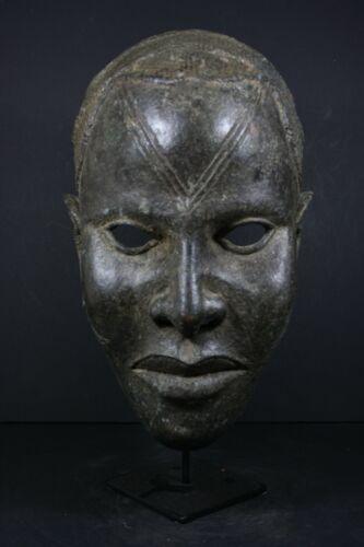 African Lifesize BENIN Bronze OBA King Mask - Nigeria, TRIBAL ART PRIMITIF CRAFT