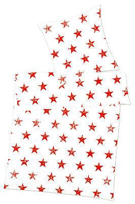 6-tlg. Bettwäsche (4-tlg. + 2 Bettlaken) - 155x 220cm - Sterne rot - Mikrofaser