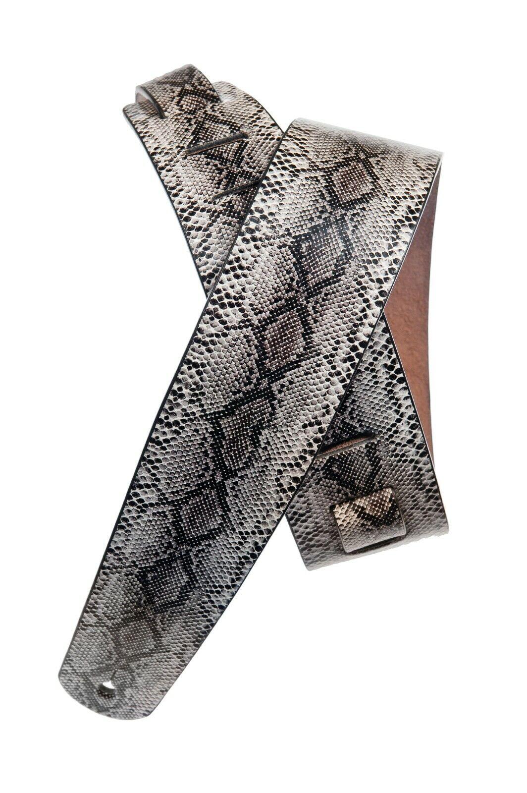 Python Snake Skin Design Leather Guitar Strap D'Addario  Pla