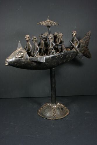 African Bronze Statue, King with Servants in Fish Boat - SAO Chad TRIBAL ART
