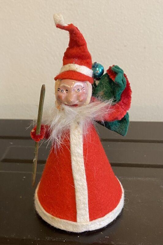 Vintage Santa Felt Plastic Face West Germany Chenille