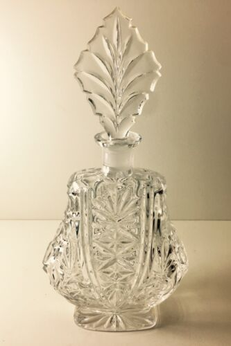 """Lovely Art Deco Thick Heavy Glass Decanter Ground Stopper 11"""""""