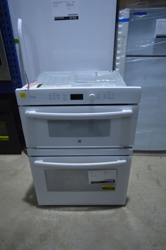 """GE Profile Series 30"""" Built-In Single Electric Convection Wall Oven with Built-In Microwave White-on-White PT7800DHWW"""