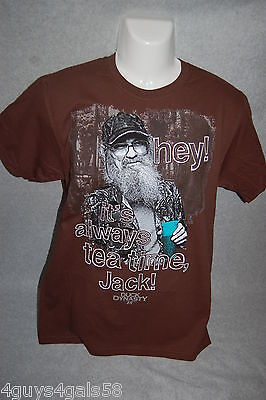 Mens Tee Shirt Brown Duck Dynasty Hey  Its Always Tea Time Jack Uncle Si M 38 40