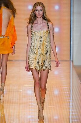 Versace RUNWAY Sexy Gold Silver Medusa Metal Embellished Tie Dyed Dress IT38](Medusa Dresses)