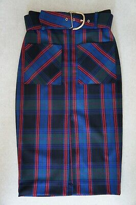 ZARA Midi High Waisted Pencil Skirt Versace inspired Blue, Red and Green Tartan