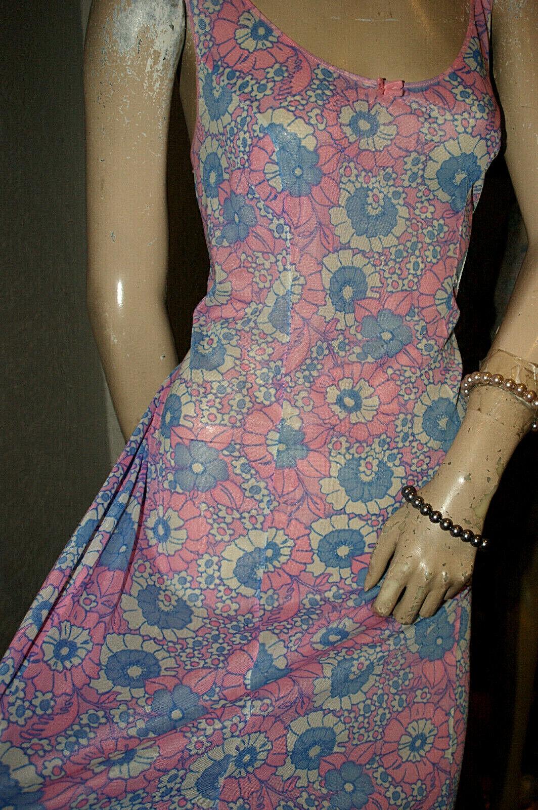 Himmelblau und rosarot~~ NYLON Unterkleid ~~zauberhaft geblümt seidenweich 48