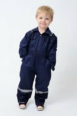 Skin Costume Kids (Hi Viz Kids coveralls overalls Skin Blue Navy red boiler suit holiday)