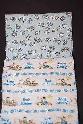 Snugly Baby Smoother Best Buddies Fishing Puppy Dog Infant Baby Blanket Lot of 2