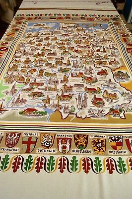 VINTAGE LINEN TABLECLOTH WALLHANGING Printed with German Towns & Crests T73