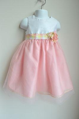 NWT Girl 18M Party Dress Peach White Full Skirt Plaid Silk Flower Wedding Easter (Full Skirt Flower Girl Dresses)