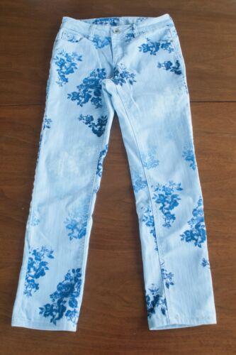 JUSTICE Premium Jeans Girls Size 14 Reg. Blue Floral Denim Stretch Jeans Pants