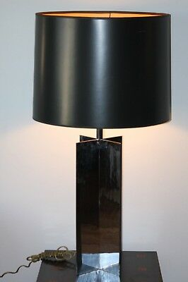 VINTAGE JEAN MICHAEL FRANK STYLE TABLE LAMP - MID CENTURY MODERN Denim Lamp Shade